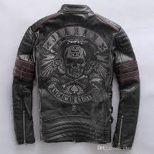 frayed harley style jackets men slim leather motorcycle clothing genuine leather mens motor jacket collar embroidered skull jacket style coats jackets from