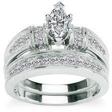 5 8 Carat Diamond Marquise Cut 14kt White Gold Bridal Set