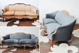 our west hollywood client asked us to find just the right antique sofa for her we sanded the wood to its raw state reupholstered it in maxwell fabrics s