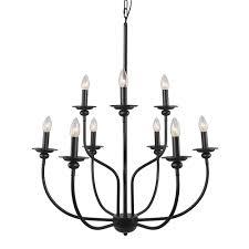 lnc 9 light black chandelier