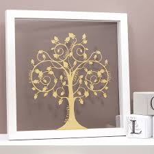 family tree in shimmering gold on wall art family tree uk with personalised papercut family tree wall art by urban twist