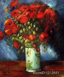 vase with red poppies canvas wall art by van gogh famous paintings high quality