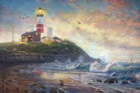 montauk lighthouse beacon of long island limited edition art thomas kinkade studios
