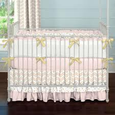 pale pink and gold chevron 3 piece crib bedding set