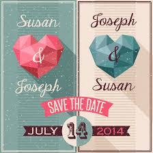 3d origami love wedding invitation card vector