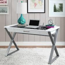 tresanti 48 white writing desk with tempered glass top storage drawer