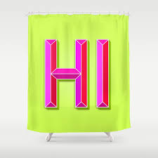 hi 3d letters lime green yellow neon hot pink shower curtain