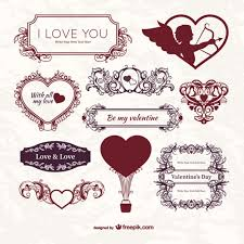 vine valentine s day labels free vector