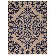 nourison aloha navy 8 ft x 11 ft indoor outdoor area rug 242969 the home depot