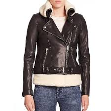 iro kolia shearling collar leather biker jacket