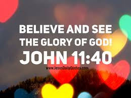 Image result for believe and see the glory of god