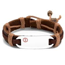 add to my lists stainless steel medical id bracelet with brown tone leather