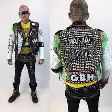 studded spiked white leather punk jacket mens 36 vintage fmc biker jacket g b h doom amebix green white crust punk leather grunge