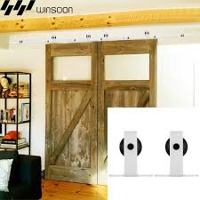 winsoon 5 16ft sliding barn door hardware double doors track kit modern white