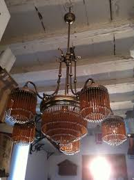 art nouveau style brass and glass beads large chandelier with 1 central light and 5 side lights venice italy 1950s catawiki