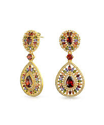 bling jewelry bling jewelry simulated red garnet cz chandelier earrings gold plated