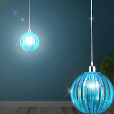 globe hanging light Ø250mm modern retro turquoise acrylic pendulum lamp acrylic