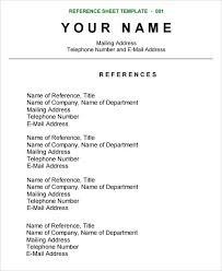 How To Create A Reference Page For A Resumes Resume Reference Sheet Emelcotest Com
