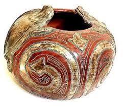 Brazil South America Ceramic Vase Etched Brown Pottery 3d Frog