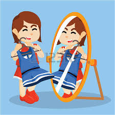 child looking in mirror clipart. girl looking in the mirror clipart child
