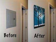 Decorative Electrical Box Cover good idea to hide the electric box Basement and Laundry ideas 18