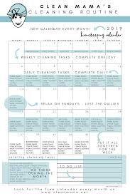 Free January 2019 Homekeeping Calendar Clean Mama