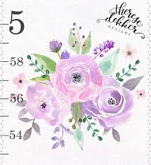 Pink Rose Color Chart Girls Growth Chart Canvas Growth Chart Lavender Pink Roses Blush Lilac Watercolor Roses Lilac Blush Floral Wall Art Nursery Decor Watercolor