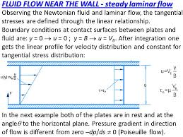 observing the newtonian fluid and laminar flow the tangential stresses are defined through the linear