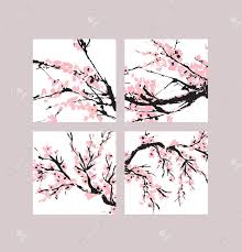 Flowers Templates Cherry Blossom Cover Set Floral Templates With Hand Drawn Branch