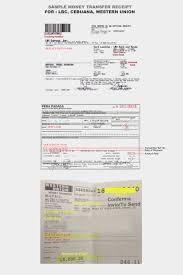 sample receipt sample receipt for money transfer