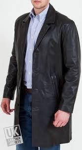 men s 3 4 length black leather coat fynn
