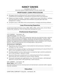 Mortgage Loan Processor Resume Sample Monster Com Ex Sevte