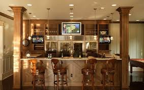 basement bar lighting ideas. symmetrical basement bar ideas with three mounted tvs and four stools for seating lighting s