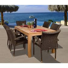 brussels 7 piece teak all weather wicker patio dining set