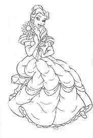 Beautiful Belle With Flower Coloring Pages