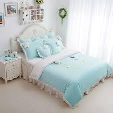 blue bedroom sets for girls. Sunflowers Light Bule Girls Velvet Ruffle Bedding Sets Blue Bedroom For E