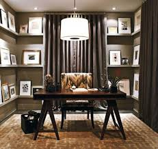 grey home office. Grey Home Office Wall With Wooden Board Shelf And Black Curtains Plus Brown Desk Chair On Rug White Pendant Lamp Ceiling