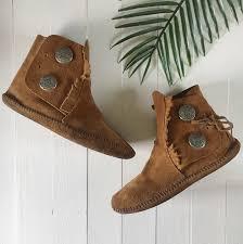 Genuine Minnetonka Moccasin Suede Leather Tan Soft Depop