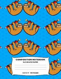 Composition Notebook Sloth Pencil Grid Graph Paper Quad