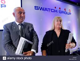 r swatch stock photos r swatch stock images alamy nayla hayek r swatch group chair of the board and her son marc hayek