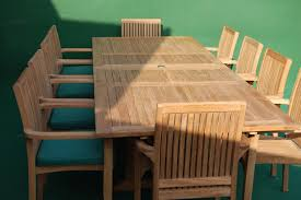 teak double extending rectangular table dining set