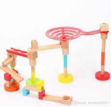 wooden cyclone marble run creative track roll ball kids children construction blocks toys 39 piece set