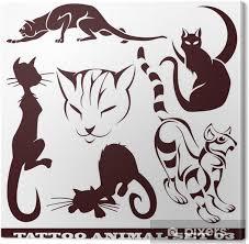 Obraz šablony Kočky Pro Tetování A Designu Na Různá Témata Na Plátně