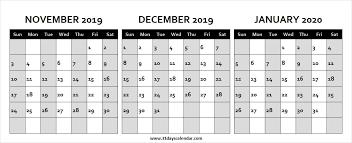 November December 2019 January 2020 Month Calendar