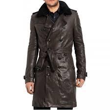brown mens leather long coat