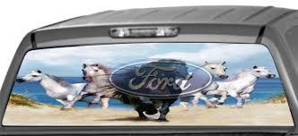 Rear Window graphics, Horses on Beach with Ford