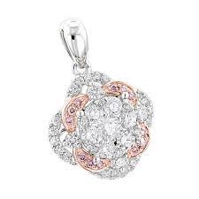 luxurman flower cer white pink diamond pendant for women in 14k gold white image