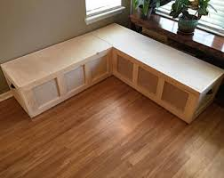 Custom Corner Banquet Bench with Drawer Storage (bare wood/unfinished)