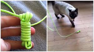 simple cat toy made from knotted