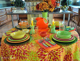 fiestaware tablecloth fiesta stripe table cloth and 6 napkins lot fiestaware table linens